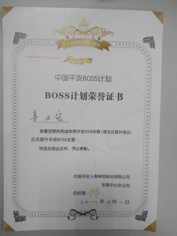 BOSS计划荣誉证书
