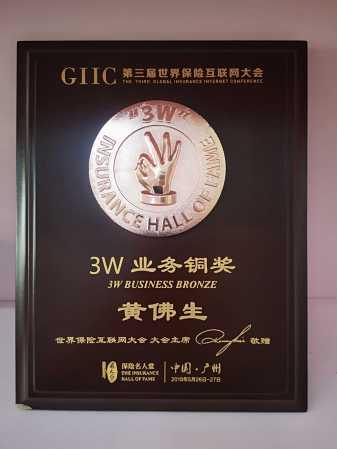 证书名称:3W业务铜奖发证机关:世界保险互联网