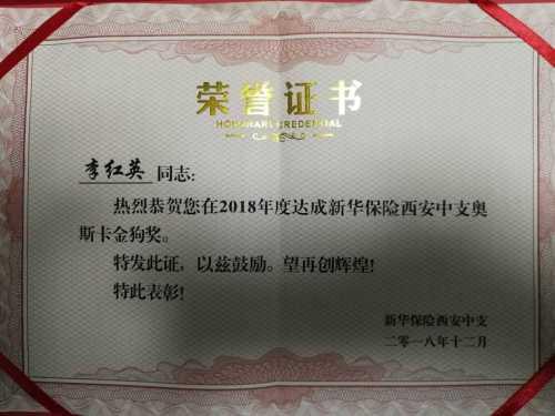 证书名称:奥斯卡金狗奖发证机关:新华保险